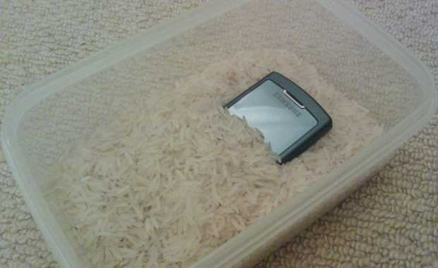 Phone kept in uncooked rice