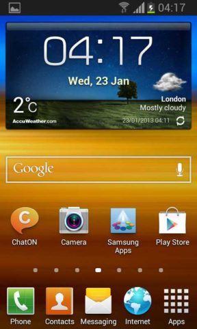 Samsung Galaxy S II Jelly Bean Homescreen