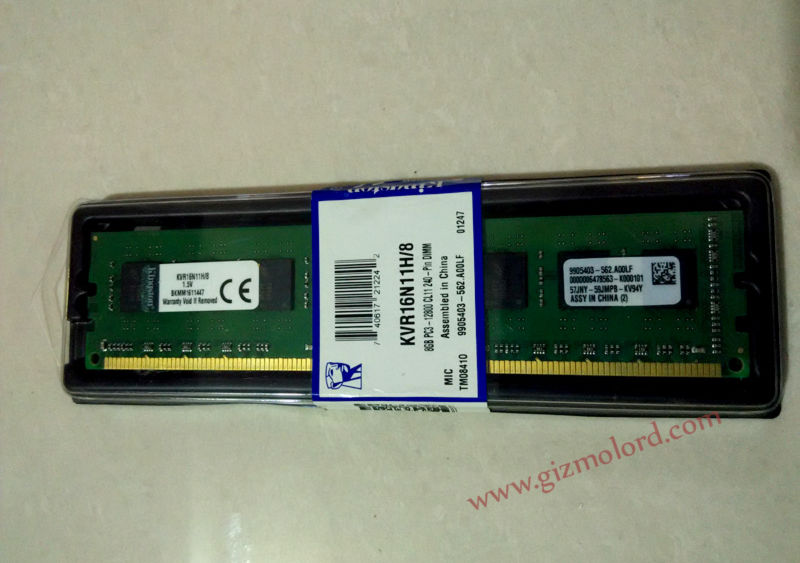Kingston ValueRAM 8GB DDR3 PC3-12800 1600MHz RAM